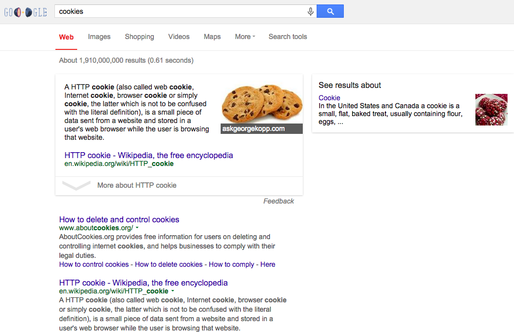 Google search terms cookies